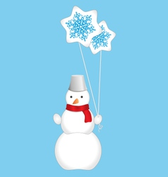 Snowman with balloons vector