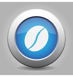 Blue metal button with coffee bean vector