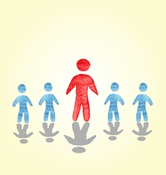 Successful man stood out from the crowd watercolor vector
