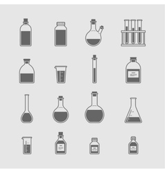 Chemical glassware icons set vector