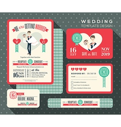 Retro cartoon wedding invitation set template vector