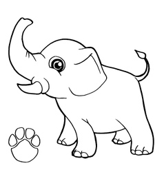 Paw print with elephant coloring page vector