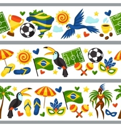 Brazil seamless borders with stylized objects and vector