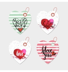 Set of four hand drawn gift tags vector