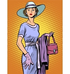 Elegant lady in beautiful dress and hat vector