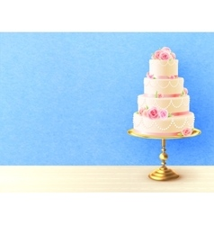 Wedding Cake With Roses Realistic Image vector image
