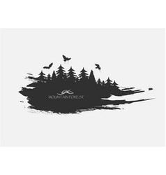 Black spot watercolors flying birds from forest vector