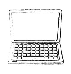 Blurred silhouette front view laptop computer tech vector