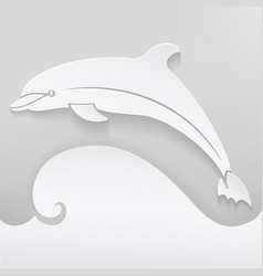 card with dolphin abstract vector image