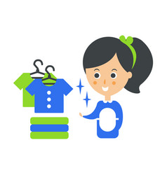 Cleanup service maid and clean clothes cleaning vector