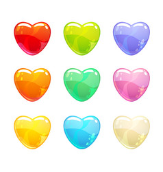 cute glossy colorful hearts set vector image vector image