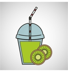 Delicious juice kiwi fruit and cup cover straw vector