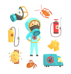 exterminators of insects in chemical protective vector image vector image