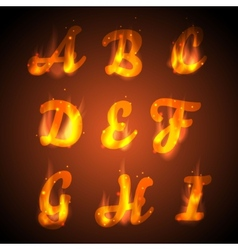 Fire alphabet vector image vector image