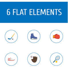 flat icons rocket puck ice boot and other vector image vector image