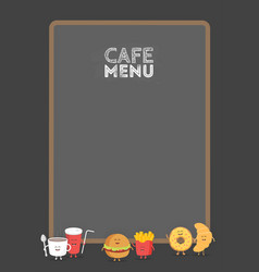 Funny cute fast food burger soda french fries vector
