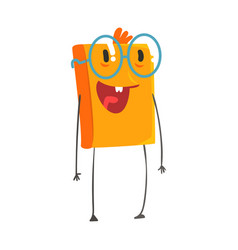 funny smiling humanized orange book wearing vector image vector image