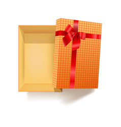 Gift box with red ribbon flower and pattern vector