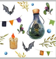 halloween seamless watercolor pattern vector image vector image