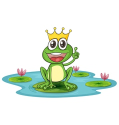 Happy King Cartoon Frog vector image vector image