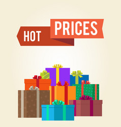 Hot prices reduction clearance sale labels ribbon vector