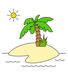 island with palm tree isolated vector image vector image