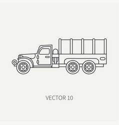 line flat plain icon tarpaulin wagon army vector image vector image