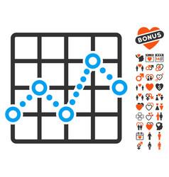 Line plot icon with love bonus vector