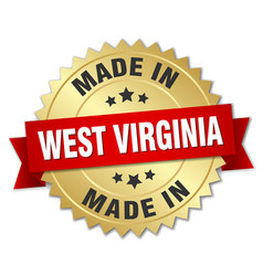 Made in west virginia gold badge with red ribbon vector