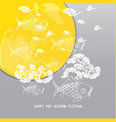 mid autumn festival background with moon carp vector image