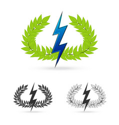 olive branch with thunder symbol of greek god zeus vector image