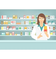 Pharmacist woman with medicine in pharmacy vector
