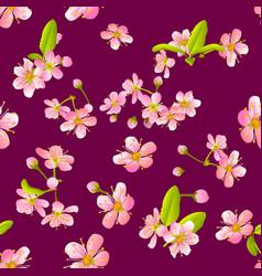 Pink cherry sakura flower blossoms seamless vector