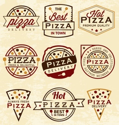 Pizza Labels and Badges in Vintage Style vector image vector image