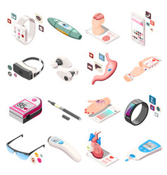 Portable electronics isometric icons vector