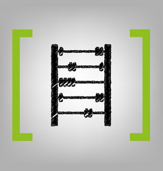 Retro abacus sign black scribble icon in vector