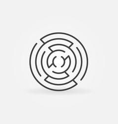 round maze line icon vector image vector image