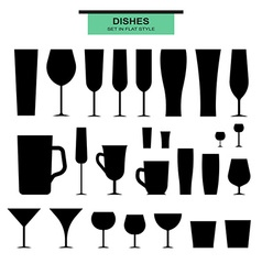 Set of isolated silhouettes different glasses vector image