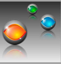 sphere shaped different colored emblems vector image vector image