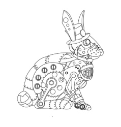 Steampunk style rabbit coloring book vector