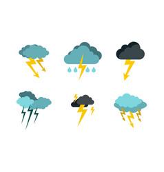storm cloud bolt icon set flat style vector image