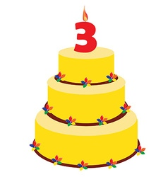 Third birthday cake vector