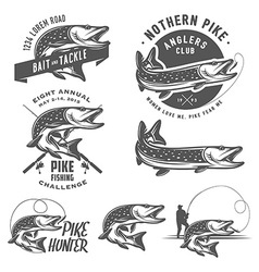 Vintage pike fishing emblems and logos vector