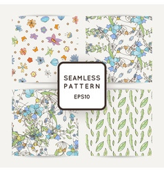 Set of doodle seamless patterns with various vector