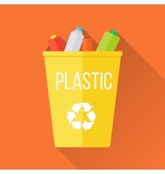 Yellow recycle garbage bin with plastic vector