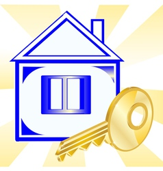 House and gold key vector