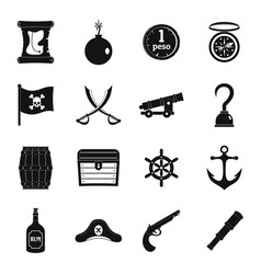 Pirate icons set simple style vector
