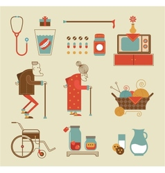 Granny icons vector