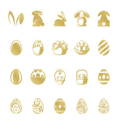 Easter retro typographic objects set vector