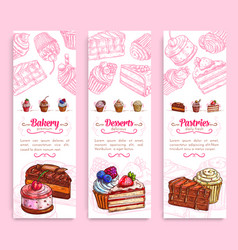 Cake desserts banner for bakery and pastry design vector